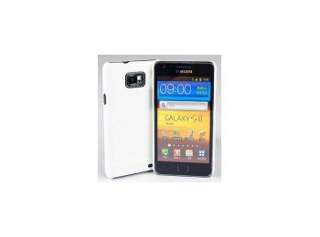 Jekod Shield bőr hátlaptok kijelzővédő fóliával Samsung i9100, i9105, Galaxy S2-höz fehér*