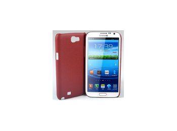 Jekod Shield bőrhatású műanyag hátlaptok kijelzővédő fóliával Samsung N7100, N7105, Galaxy Note 2 barna*