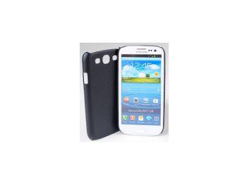 Jekod Shield bőrhatású műanyag hátlaptok kijelzővédő fóliával Samsung i9300, i9301, i9305, Galaxy S3 fekete*