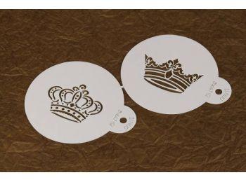 Kétféle korona mintás stencil muffin vagy torta dekorál�