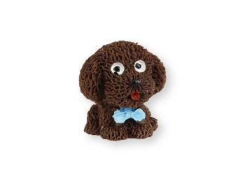 Mini cuki sötétbarna kutya műanyag tortadísz szülinapi