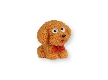 Mini cuki világosbarna kutya műanyag tortadísz szülinapi