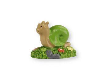 Mini zöld csiga virágokkal műanyag tortadísz szülinapi