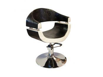 Stella szatén fekete-fehér hidraulikus fodrász szék SX-2