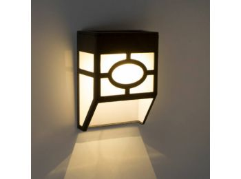 Falra szerelhető szolár lámpa - műanyag, fekete - 12 x 8
