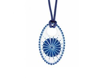 Kék csipke ovális medál
