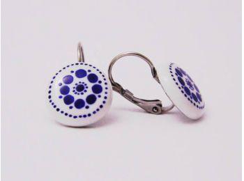 Kék csipke fülbevaló  (franciakapcsos)