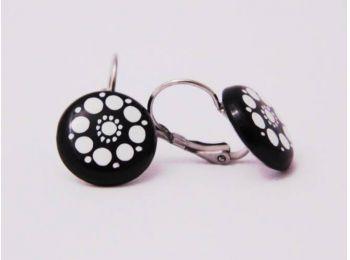Fekete csipke fülbevaló  (franciakapcsos)
