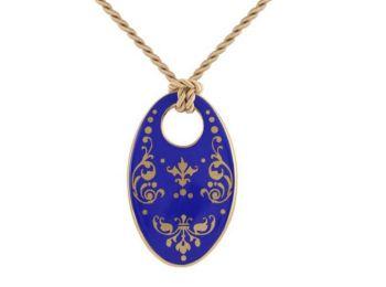 Kék barokk ovális medál
