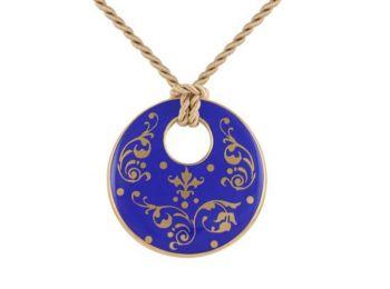 Kék barokk kerek medál