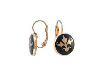 Fekete barokk fülbevaló (franciakapcsos)