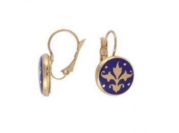 Kék barokk fülbevaló (franciakapcsos)