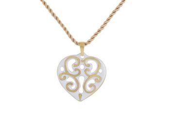 Fehér arany aero szív medál