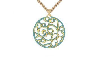 Türkiz arany kicsi kerek aero medál