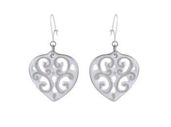 Fehér platina aero szív fülbevaló