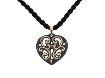 Fekete arany aero szív medál