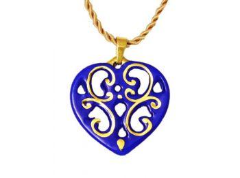 Királykék arany aero szív medál