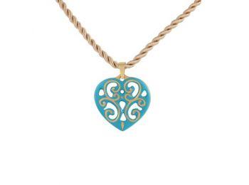 Türkiz arany aero szív medál