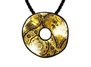 Fekete arany hullámos, kerek medál