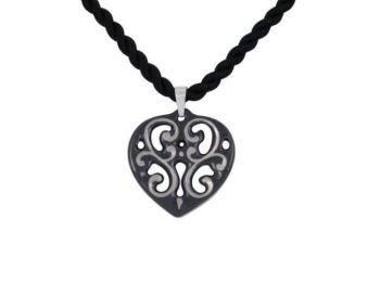 Fekete platina aero szív medál