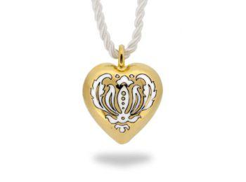 Arannyal festett, barokk mintás szív medál