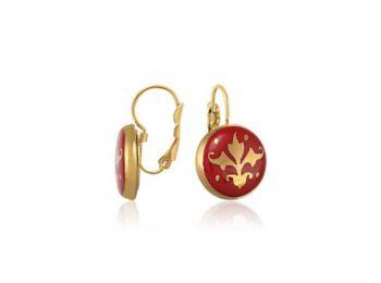 Piros barokk fülbevaló (franciakapcsos)