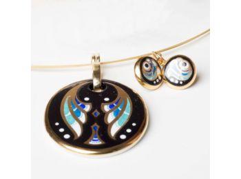 Kék art deco ovális medál, franciakapcsos fülbevalóval