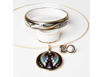 Kék art deco ovális medál, franciakapcsos fülbevalóval,