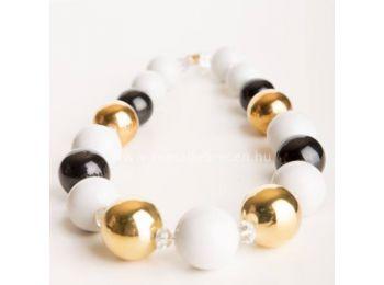 Fekete & arany gombócos nyaklánc