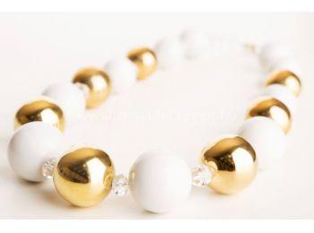 Arany & fehér gombócos nyaklánc
