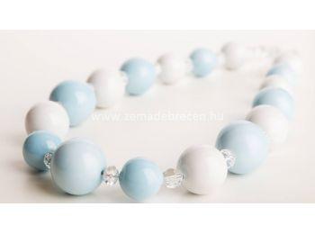 Kék & fehér gombócos nyaklánc