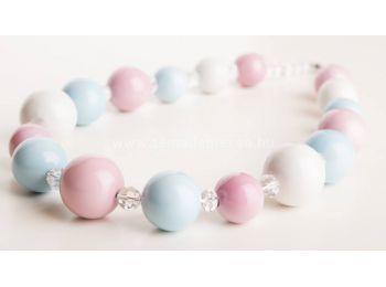 Kék & rózsaszín gombócos nyaklánc