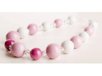 Rózsaszín & fehér gombócos nyaklánc