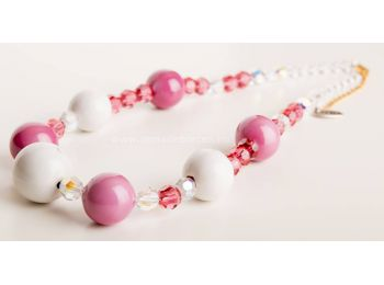 Rózsaszín & fehér gombócos, Swarovski nyaklánc
