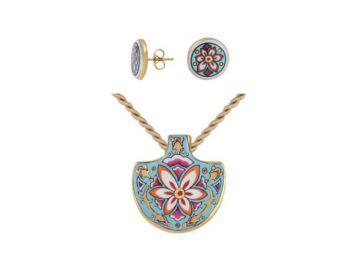 Türkizkék Szecessziós kis medál bedugós fülbevalóval