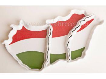 Magyarország alakú piros fehér zöld, 3 részes tál
