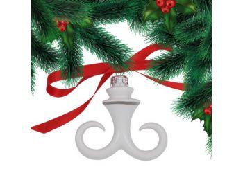 Platina hóbajúsz porcelán karácsonyfadísz