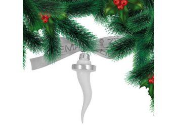 Platina jégcsap porcelán karácsonyfadísz