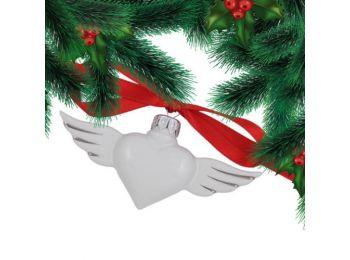 Platina szív porcelán karácsonyfadísz