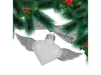 Platina szárnyú szív porcelán karácsonyfadísz