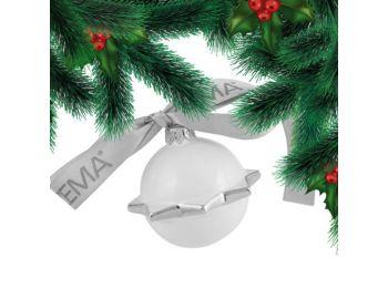Platina hógömb porcelán karácsonyfadísz
