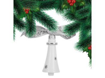 Platina csillagos csengő porcelán karácsonyfadísz