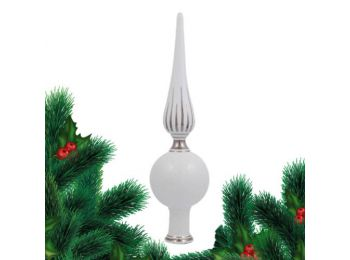 Platina csúcsdísz porcelán karácsonyfadísz