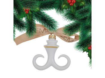 Arany hóbajusz porcelán karácsonyfadísz