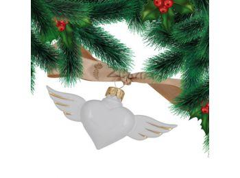 Arany szív porcelán karácsonyfadísz