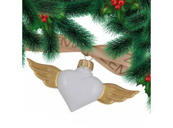 Arany szárnyú szív porcelán karácsonyfadísz