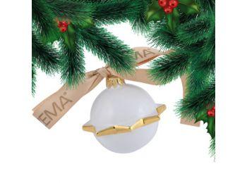 Arany hógömb porcelán karácsonyfadísz