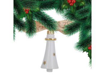 Arany csillagos csengő porcelán karácsonyfadísz