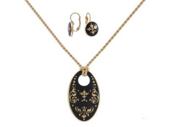 Fekete barokk porcelán ovális medál franciakapcsos fülbevalóval