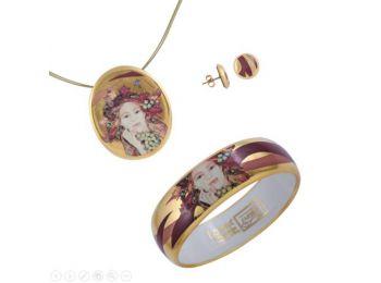 Faragó Ősz porcelán arannyal festett medál bedugós fül